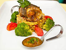 Fish roll and couscous Royalty Free Stock Photos