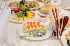 Fish Rolls with Caviar Stock Photo