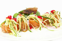 Fish rolls with herbs and fruit Stock Photo