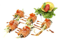 Fish rolls with herbs and fruit Royalty Free Stock Images