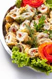 Fish Rolls with Paprika and Cucumber Stock Photography