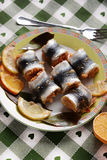 Fish rolls on the plate Royalty Free Stock Images