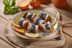 Fish rolls on the plate Stock Photography