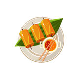 Fish Rolls and Soup on a Plam Served Food. Vector. Fish Rolls and Soup on a Plam Served Food Served Food. Colourful Vector Illustration Royalty Free Stock Photo