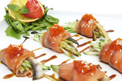 Fish Rolls With Herbs And Fruit Royalty Free Stock Image