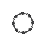 Fish round logo. Cute grey fishes situated in the shape of circle with space for text in center isolated on white background. Logo template, design element, menu Royalty Free Stock Photo