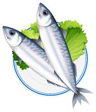 Fish on round plate. Illustration Royalty Free Stock Images