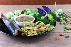 Fish Saba shoyu yaki and chili paste sauce Royalty Free Stock Photos