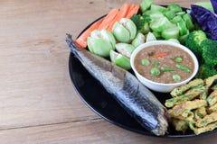 Fish Saba shoyu yaki and chili paste sauce Stock Images