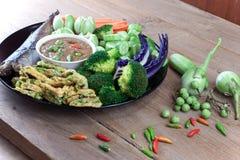 Fish Saba shoyu yaki and chili paste sauce Royalty Free Stock Image