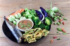 Fish Saba shoyu yaki and chili paste sauce Stock Photos