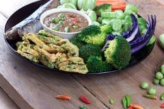 Fish Saba shoyu yaki and chili paste sauce Stock Photography