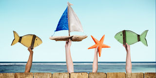 Fish Sailboat Starfish Coconut Buoy Sea Ocean Concept Stock Images