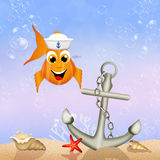 Fish sailor in the ocean. Illustration of fish sailor in the ocean Royalty Free Stock Photos