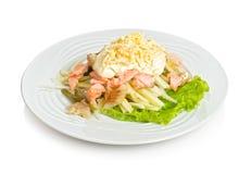 Fish salad. Sea star fish salad with zander and trout Royalty Free Stock Photo