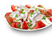 Fish salad with cream sauce and tomato. Salad with herring, tomato, chive, onion, spices and cream sauce Royalty Free Stock Image