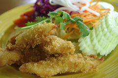 fried fish and salad dish royalty free stock photo