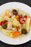 Fish salad in plate Stock Image