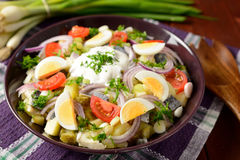 Fish salad with potatoes, eggs, red onion, tomatoes and dressing Royalty Free Stock Images
