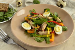 Fish salad with quail eggs, sweet peppers and fresh herbs Royalty Free Stock Photos