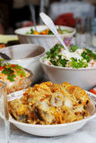 Fish, salads Stock Images