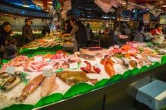 Fish sale at Boqueria market Stock Photo