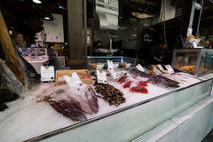 Fish sale in San Miguel market, Madrid Stock Image