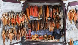 Fish for sale. Smolensk highway. Russia. Stock Images