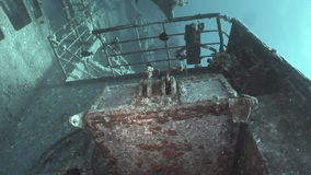 Fish in Salem Express shipwrecks underwater in the Red Sea in Egypt. stock footage