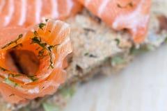 Fish salmon. Salty fish salmon on a bread Stock Photos