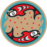 Fish - Salmon - Native American Style. Including Vector stock illustration