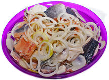 Fish salmon pickled salted onion. Royalty Free Stock Image