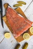 Fish salmon raw slice cutting board eating food stock photos