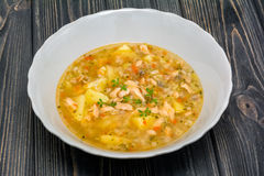 Fish salmon soup with broccoly Stock Image
