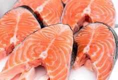 Fish salmon steaks in close up royalty free stock photo