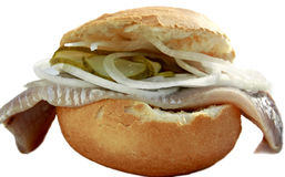 Fish Sandwich. Pickled herring fish sandwich isolated on white Stock Photos