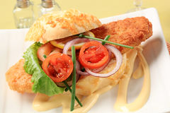 Fish sandwich Royalty Free Stock Images