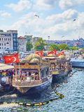 The Fish Sandwich Boats moored in Eminonu Pier. Istanbul, Turkey. royalty free stock photography