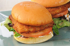 Fish sandwich on a bun. A breaded fish sandwich on a bun stock photo