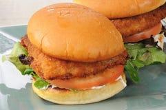 Fish sandwich on a bun. A breaded fish sandwich on a bun Stock Photo