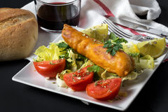 Fish sandwich with greenery, tomatoes and salad Stock Images