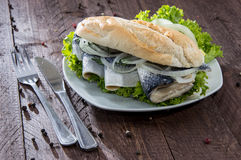 Fish Sandwich on wooden background Royalty Free Stock Photo