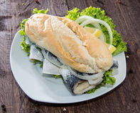 Fish Sandwich on wooden background Stock Image