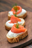 Fish sandwiches with salmon and dill Stock Photo