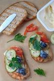 Smoked fish sandwich mackerel tomato feihua paprika cheese royalty free stock image