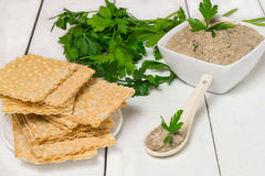 Fish sardine pate and crispy waffle bread Stock Photography