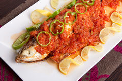 Fish with Sauce Royalty Free Stock Photography