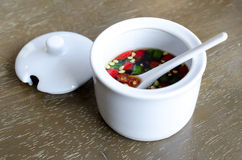 Fish Sauce Thailand in a white cup . Stock Photo