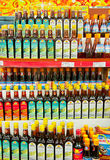 Fish Sauces. Vietnam is the number one producer of fish sauce in the world.  Here are a number of brands on display for sale Royalty Free Stock Photo