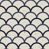 Fish scale japanase seamless pattern vector. Abstract seamless pattern. Japanese style, fish scale. Gold splash, indigo and white colors. Vector design for Stock Image